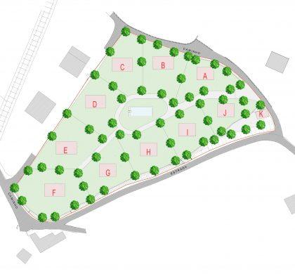 Grondplan met kavels van minimaal 750 m2 tot en met 1180 m2