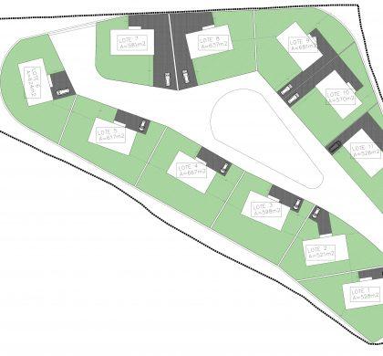 Grondplan met kavels van minimaal 500 m2